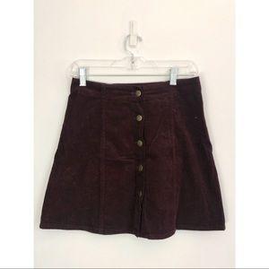 Dark Berry Corduroy Skirt